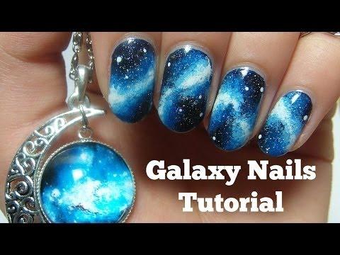 Дизайн космос на ногтях гель