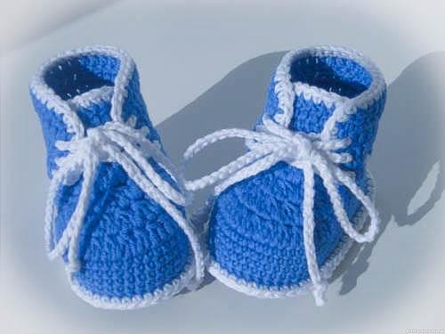 пинетки крючком для новорожденных схема