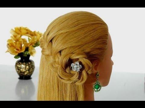 Быстрая прическа в школу: плетение косы, цветок из волос. Peinado para la escuela