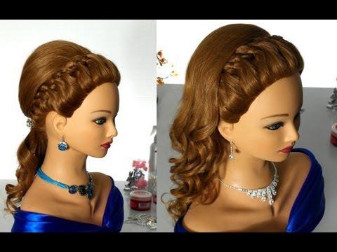 Вечерняя прическа с плетением (коса из 4-х прядей). Prom hairstyle with 4 strand braid
